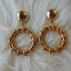 Runway Couture Dangle Hoops Gold Toned 70's